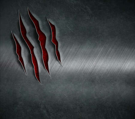 thriller: beast claw scratched marks on metal background