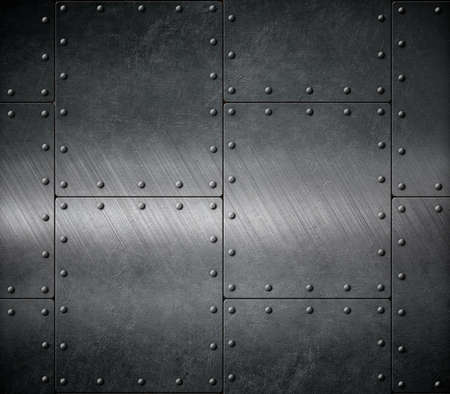 rivets: dark armour background with rivets Stock Photo