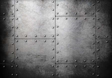acier: armure de métal avec des rivets vieux fond Banque d'images
