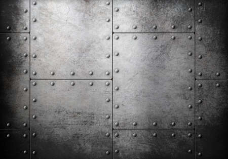 metal sheet: old metal armour with rivets background