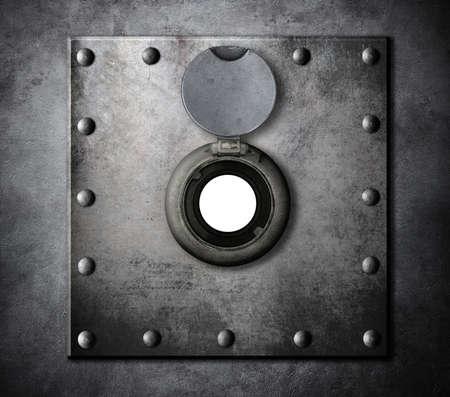 peephole or peep hole in metal armored door closeup