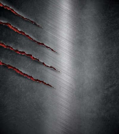 hierro: bestia garra arañó marcas en el fondo oscuro del metal Foto de archivo
