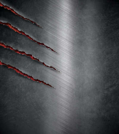 Tier Kralle zerkratzt Markierungen auf dunklen Metall-Hintergrund Standard-Bild - 48550078