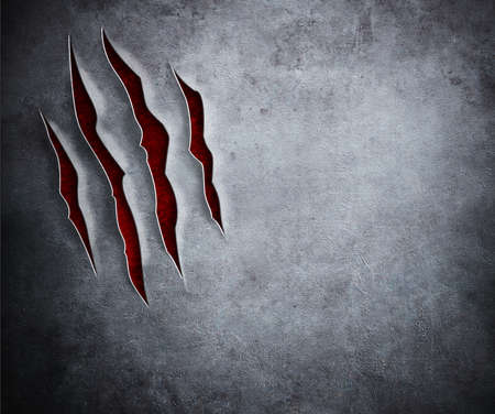 claw: beast claw cuts on metal background