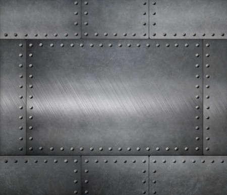 metalen platen met klinknagels pantser achtergrond Stockfoto