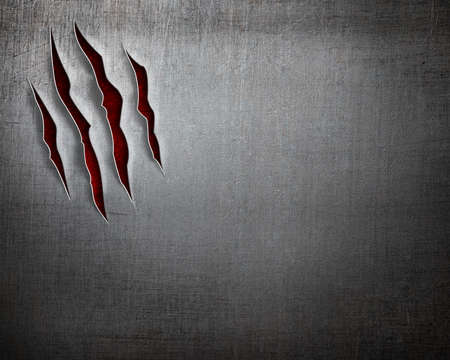 thriller: beast claw cuts on metal background