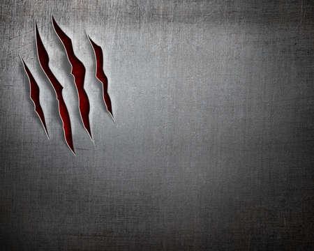 escudo: cortes garra bestia en el fondo de metal