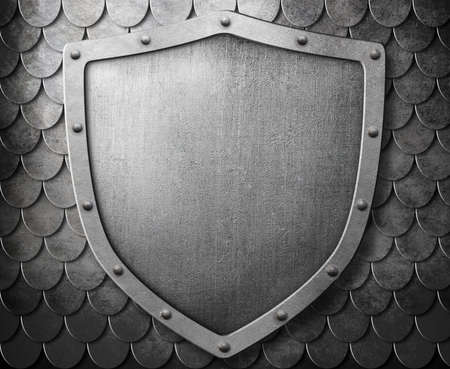 armoring: coat of arms shield over metal scales background
