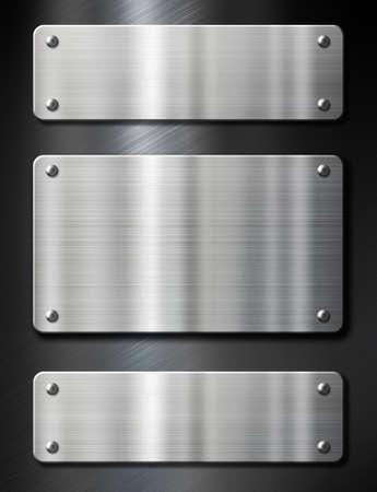placa bacteriana: 3 placas de metal de acero sobre fondo negro cepillado