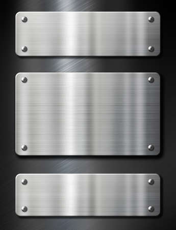 brushed steel: 3 steel metal plates on black brushed background