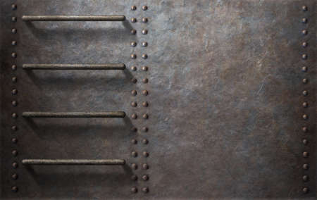 rivets: submarine or ship metal background with stairs and rivets