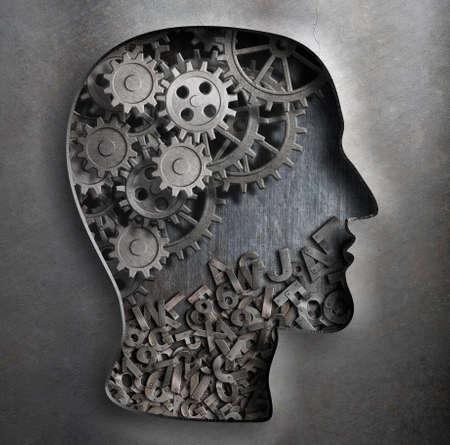 psicologia: engranajes de metal, los dientes y los personajes dentro de la cabeza humana cortan silueta.