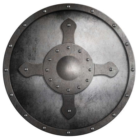 crusaders: aged round metal crusaders shield isolated on white Stock Photo