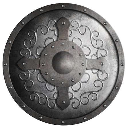 escudo: escudo metálico redondo medieval con la cruz y el patrón aislado