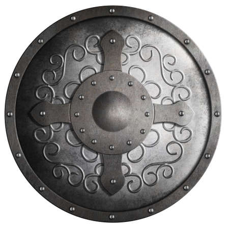 shield: medieval round metal shield with cross and pattern isolated