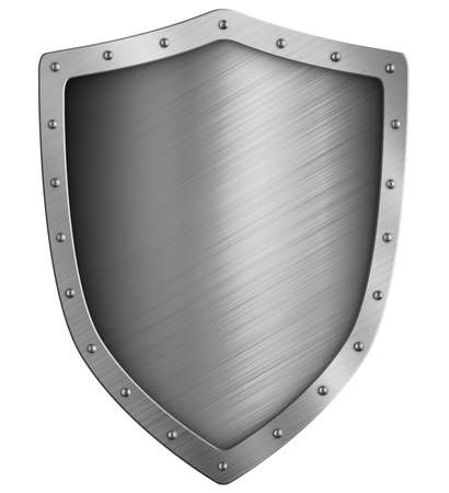 simple medieval metal shield isolated on white