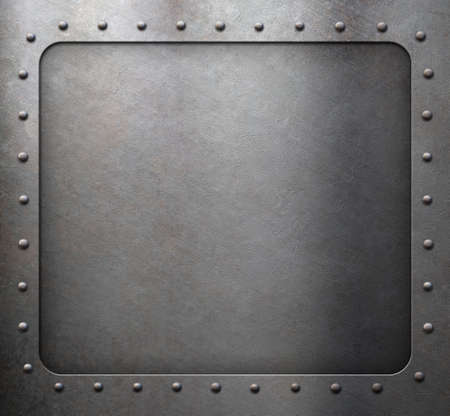 steel metal frame with rivets as background