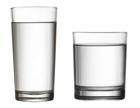 included: tall full glass of water isolated on white clipping path included Stock Photo