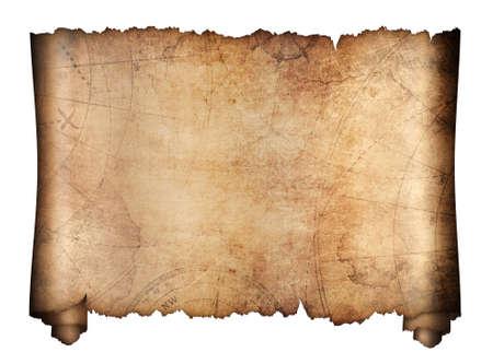 antiguo mapa del tesoro rollo aislado en blanco