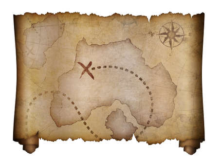 scroll: old pirates treasure map isolated on white