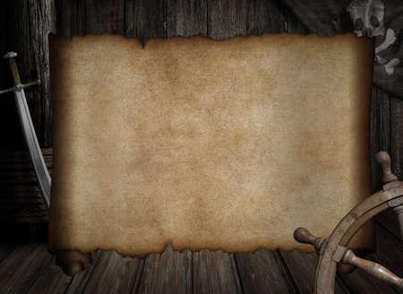 lege schatkaart frame over andere piraten accessoires Stockfoto