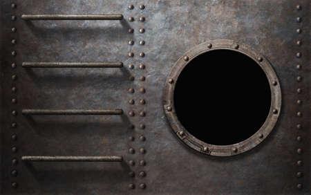 oxidado: submarino de metal oxidado o el costado del buque con escaleras y ojo de buey