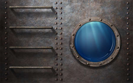 ship porthole: submarine or ship porthole with stairs and underwater view Stock Photo