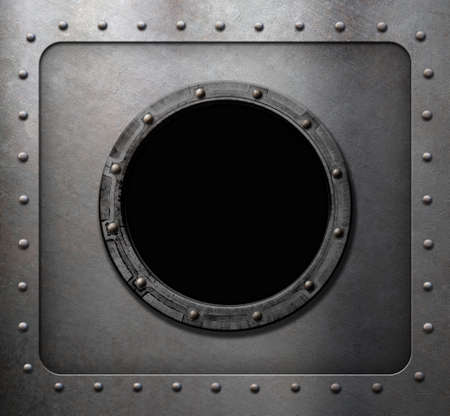 clamps: rusty metal submarine or ship wall with porthole Stock Photo