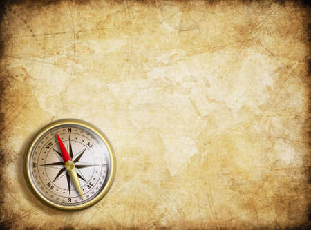aged nautical treasure map and compass background