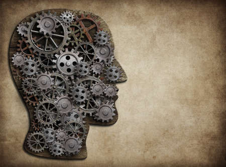 science symbols metaphors: Human head made from gears and cogs