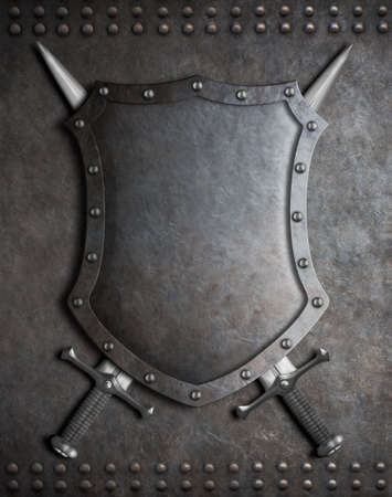 armoring: medieval coat of arms shield with crossed swords over armour