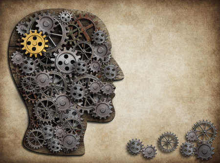 amnesia: Human brain made from gears and cogs Stock Photo