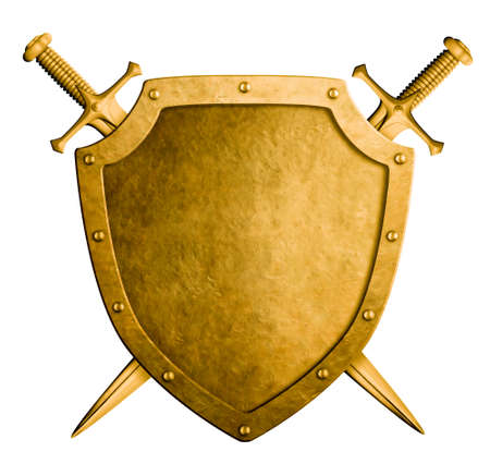 gold silver: gold medieval knight shield and swords isolated on white Stock Photo