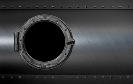 steel bridge: rusty metal submarine or ship wall with porthole 3d illustration Stock Photo