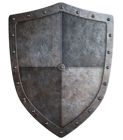 iron cross emblem: medieval coat of arms or shield isolated on white 3d illustration Stock Photo