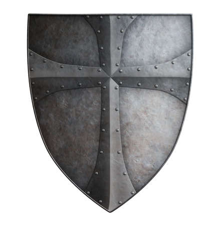 crusaders: Big medieval crusaders metal shield isolated on white 3d illustration Stock Photo