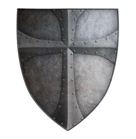 Big medieval crusader's metal shield isolated on white 3d illustration Banco de Imagens