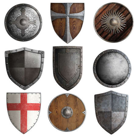 various medieval knight shields isolated on white Stock Photo