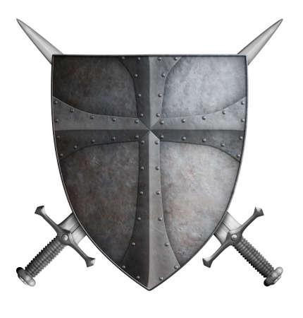 espadas medievales: metal escudo medieval del cruzado y dos espadas cruzadas aislados en blanco 3d ilustración