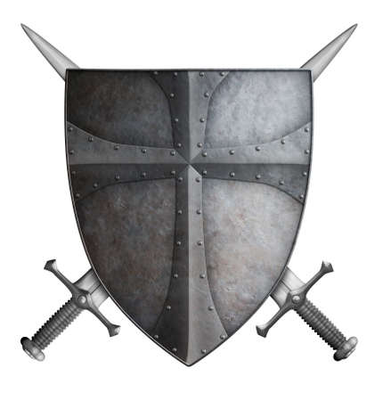 iron cross: old metal medieval crusader shield and two crossed swords isolated on white 3d illustration