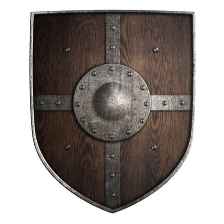 iron cross: medieval crusader wooden shield isolated on white 3d illustration Stock Photo
