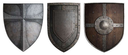crusaders: various crusaders knights shields set isolated 3d illustration on white Stock Photo