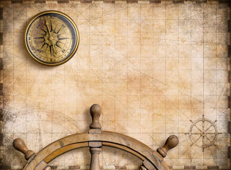 jorney: old brass compass with vintage map background 3d illustration Stock Photo