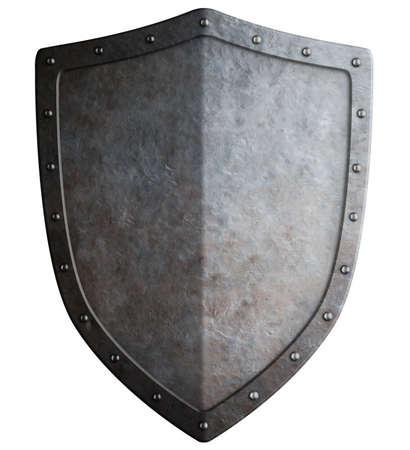 Big mittelalterlichen auf weißem 3D-Darstellung Schild isoliert Standard-Bild - 56494755