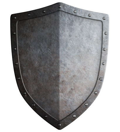 Big medieval shield isolated on white 3d illustration