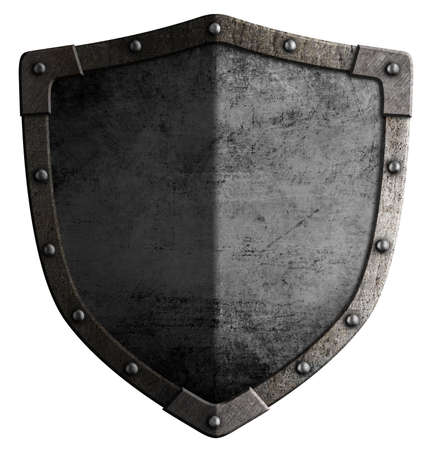 templar: Big medieval shield isolated on white 3d illustration