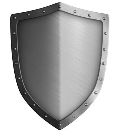 Big metal shield isolated on white 3d illustration Foto de archivo