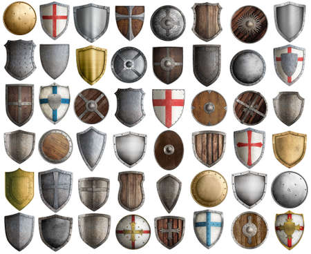 medieval knight shields big set 3d illustration isolated on white