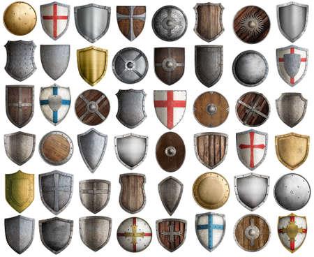 chevalier médiéval protège grand ensemble 3d illustration isolé sur blanc