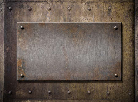 old metal plate over grunge rusty background 스톡 콘텐츠